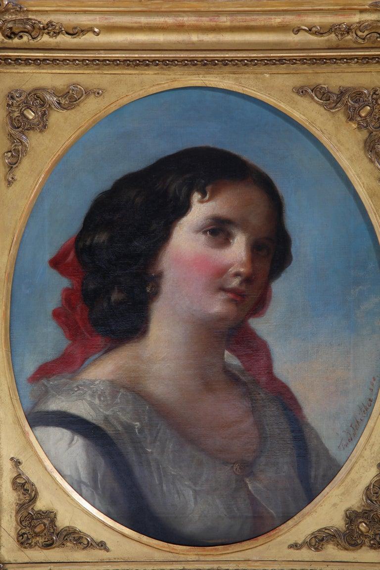 Friedrich Schilcher, Biedermeier Portrait of a Young Woman, Vienna 19th Century For Sale 12