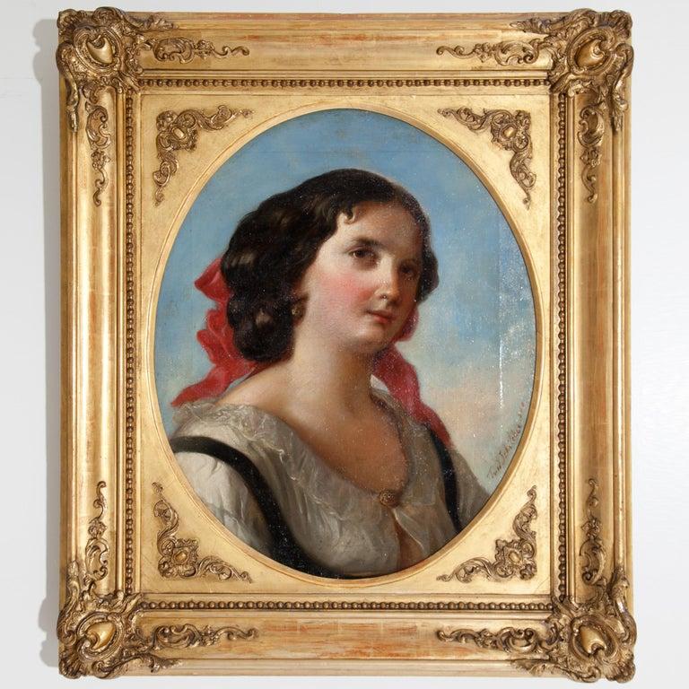 Friedrich Schilcher, Biedermeier Portrait of a Young Woman, Vienna 19th Century For Sale 13
