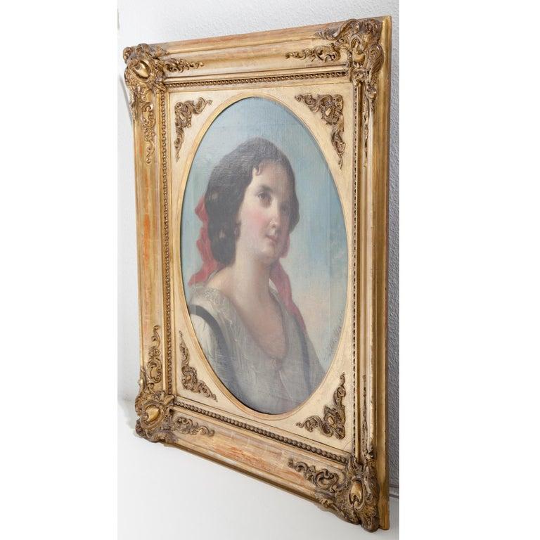 Austrian Friedrich Schilcher, Biedermeier Portrait of a Young Woman, Vienna 19th Century For Sale