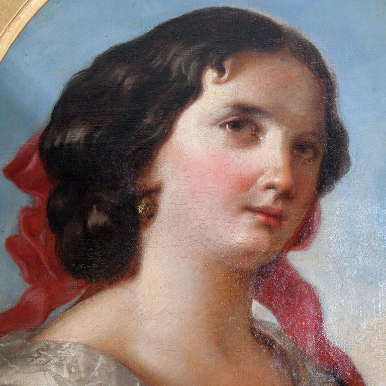 Friedrich Schilcher, Biedermeier Portrait of a Young Woman, Vienna 19th Century In Good Condition For Sale In Greding, DE