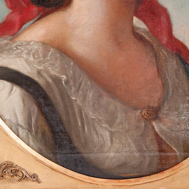 Canvas Friedrich Schilcher, Biedermeier Portrait of a Young Woman, Vienna 19th Century For Sale