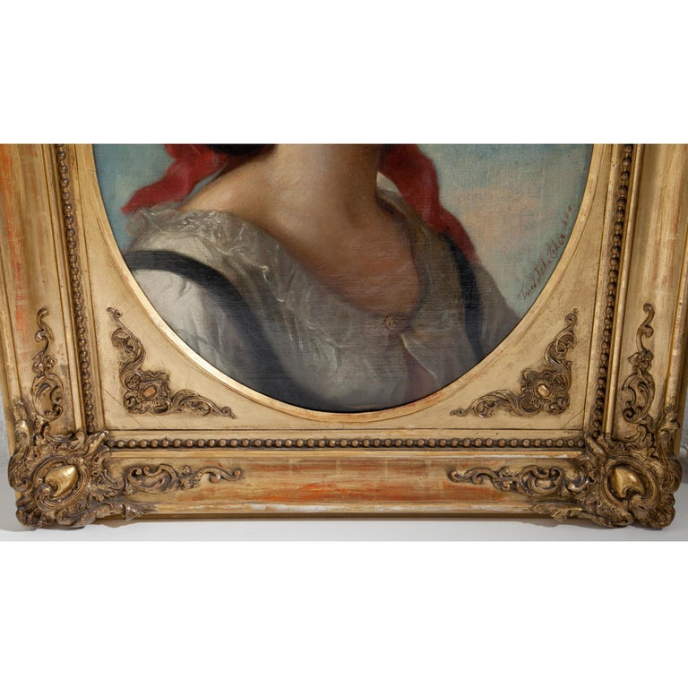 Friedrich Schilcher, Biedermeier Portrait of a Young Woman, Vienna 19th Century For Sale 1