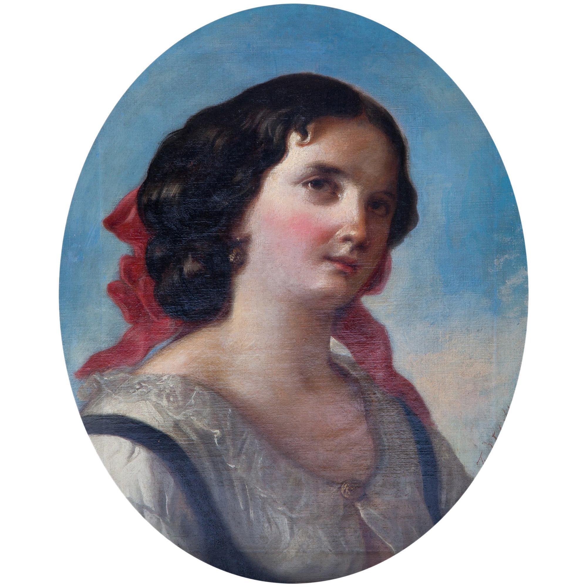 Friedrich Schilcher, Biedermeier Portrait of a Young Woman, Vienna 19th Century