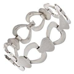 Friedrich Speidel Sterling Silver Polished and Brushed Chain Link Bracelet 1970s