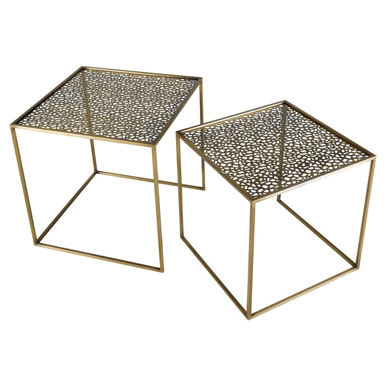 Friends Set of 2 Nesting Tables with Perforated Top For Sale