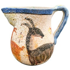 """Frieze of Goats,"" Important 1930s Pitcher by I.C.S., Likely by Gambone"