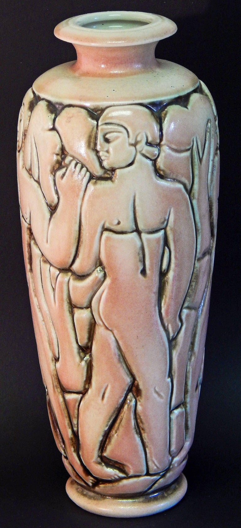 """Glazed """"Frieze of Male Nudes,"""" Large, Highly Rare Art Deco Vase by Goor for Mougin For Sale"""