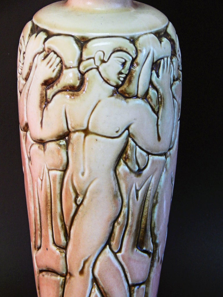 """""""Frieze of Male Nudes,"""" Large, Highly Rare Art Deco Vase by Goor for Mougin In Excellent Condition For Sale In Philadelphia, PA"""