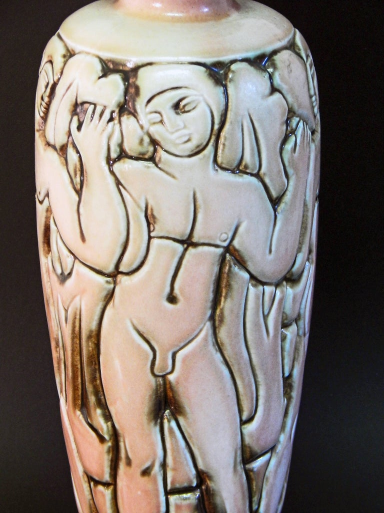 """Mid-20th Century """"Frieze of Male Nudes,"""" Large, Highly Rare Art Deco Vase by Goor for Mougin For Sale"""