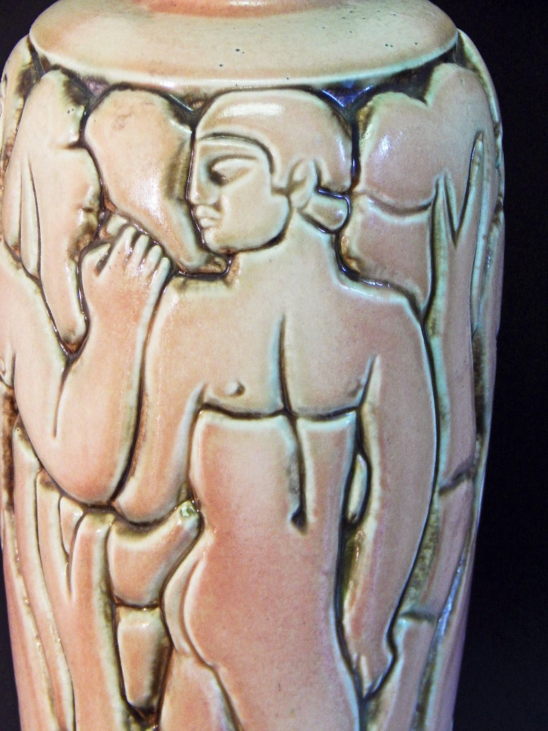 """Clay """"Frieze of Male Nudes,"""" Large, Highly Rare Art Deco Vase by Goor for Mougin For Sale"""