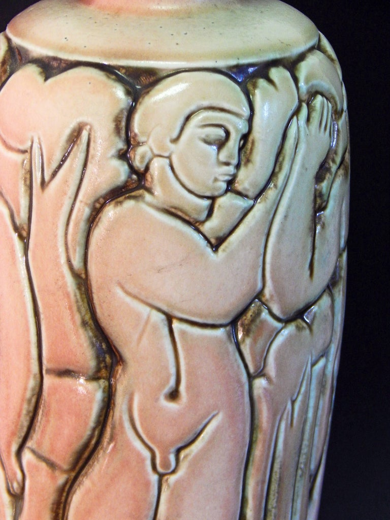 """""""Frieze of Male Nudes,"""" Large, Highly Rare Art Deco Vase by Goor for Mougin For Sale 1"""