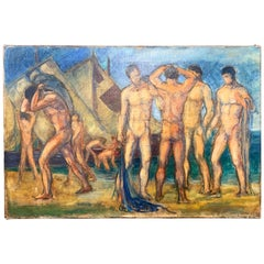 """""""Frieze of Nude Male Figures,"""" Art Deco Scene of Bathers and Workers, France"""