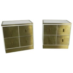 Frigerio Bedside Tables Nightstands Italian Brass and Wood, 1950