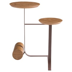 Frigga Side Table Wooden Double Tops Brass Color