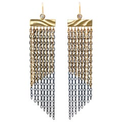 Fringe Earrings in 14 Karat Gold and Sterling Silver with 0.07 Carat Diamonds