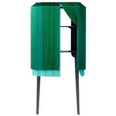 Fringe, Green Luxury Wall Cabinet with Two Legs, Made in France