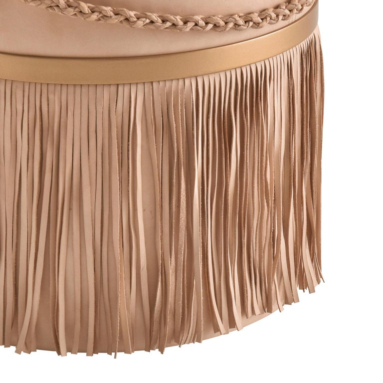 South American Serena Pouf with Fringe, Ecofriendly, Brazilian Design, Natural Leather For Sale