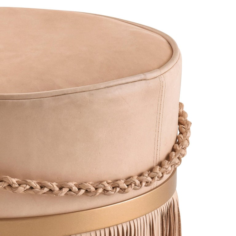 Hand-Crafted Serena Pouf with Fringe, Ecofriendly, Brazilian Design, Natural Leather For Sale