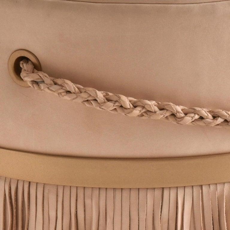 Serena Pouf with Fringe, Ecofriendly, Brazilian Design, Natural Leather In New Condition For Sale In Bento Goncalves, Rio Grande do Sul