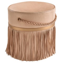 Fringed Serena Pouf, Brazilian Design, Natural Leather, Ecofriendly