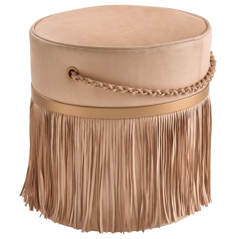 Serena Pouf with Fringe, Ecofriendly, Brazilian Design, Natural Leather For Sale