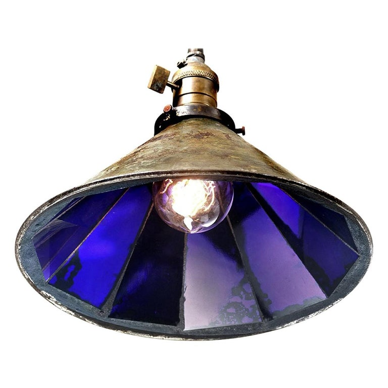 Frink Style Blue Mirrored Reflector Pendent For Sale