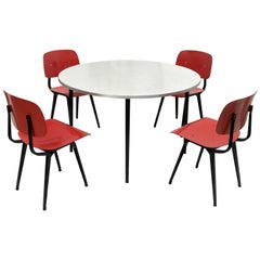 Friso Kramer Early Edition Revolt Chairs + Rare Matching Round Reform Table 1953