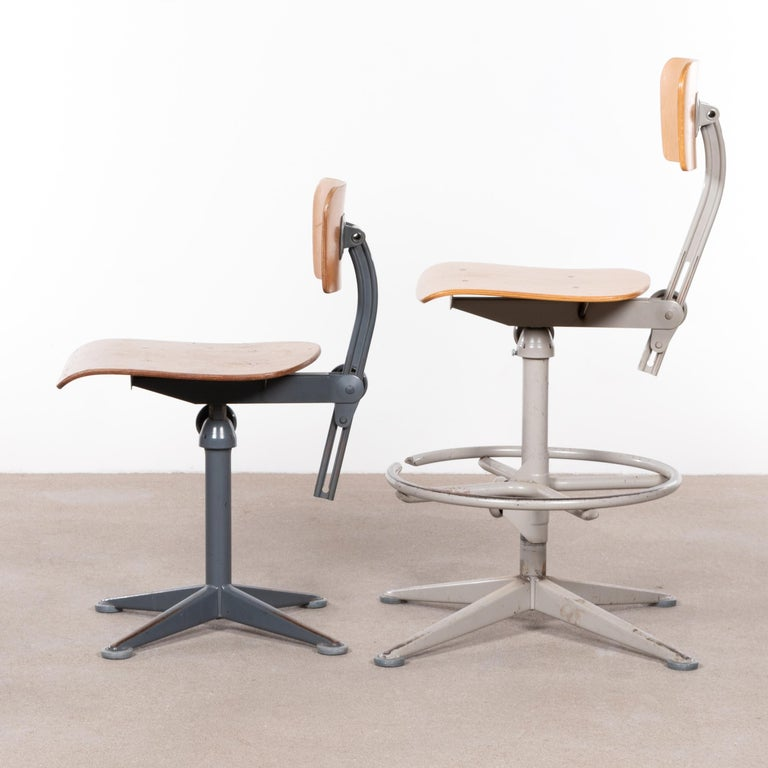 Friso Kramer Industrial Drafting Stools for Ahrend de Cirkel, Netherlands In Good Condition For Sale In Amsterdam, NL