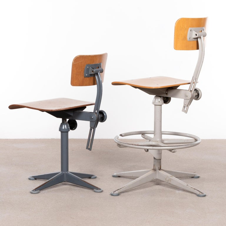 Mid-20th Century Friso Kramer Industrial Drafting Stools for Ahrend de Cirkel, Netherlands For Sale