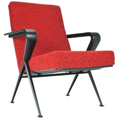 Friso Kramer Repose Lounge Chair in Red for Ahrend de Cirkel, 1965