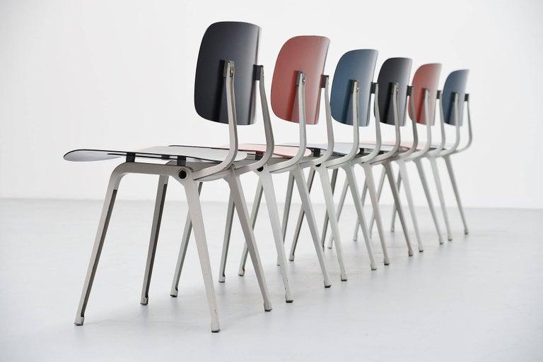 Mid-Century Modern Friso Kramer Revolt Chairs Set 1953 Black Blue Liver Colors For Sale