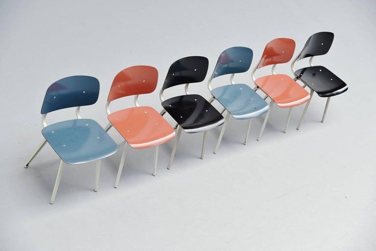 Dutch Friso Kramer Revolt Chairs Set 1953 Black Blue Liver Colors For Sale