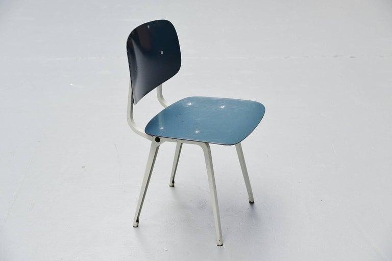 Cold-Painted Friso Kramer Revolt Chairs Set 1953 Black Blue Liver Colors For Sale