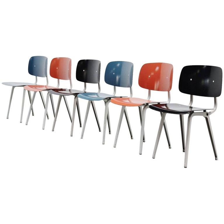Friso Kramer Revolt Chairs Set 1953 Black Blue Liver Colors For Sale