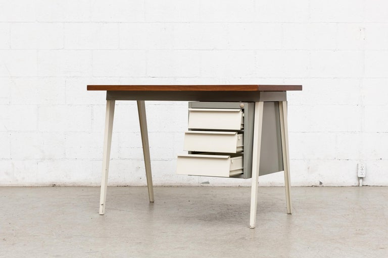 Mid-Century Modern Friso Kramer Style 1950s Metal Desk with Prouve Legs For Sale