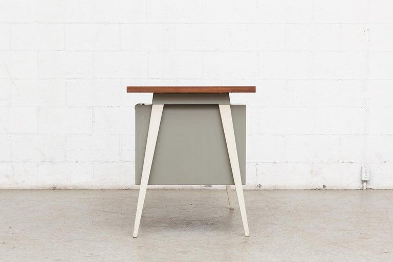 Dutch Friso Kramer Style 1950s Metal Desk with Prouve Legs For Sale
