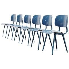Friso Kramer Uni Colour Revolt Chairs for Ahrend de Cirkel, 1953 Blue