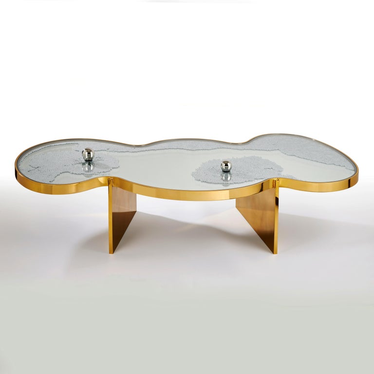 French Frissons Doré Coffee Table by Hubert Le Gall For Sale