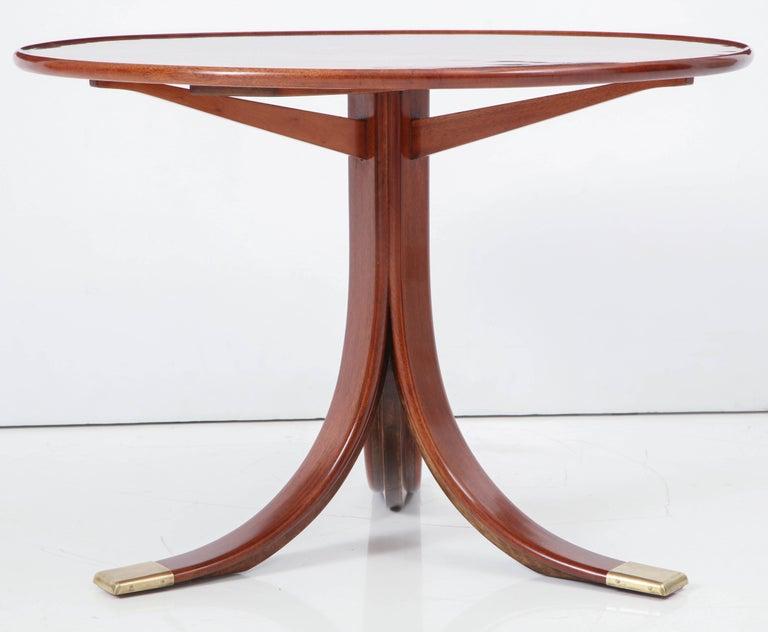 Mahogany Frits Henningsen Circular Side Table, circa 1940s For Sale