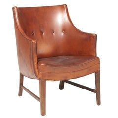 Frits Henningsen Cognac-Color Leather Armchair in Excellent Original Condition