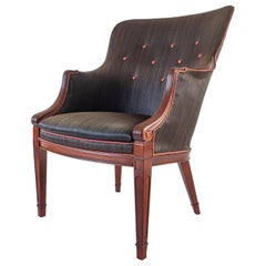 Frits Henningsen, Danish Mahogany and Original Horsehair Upholstery Armchair
