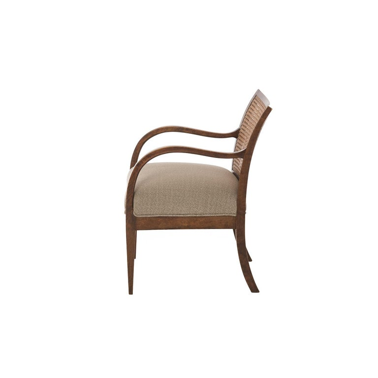Scandinavian Modern Frits Henningsen Double Layer Caned Back Transitional Modern Armchair For Sale