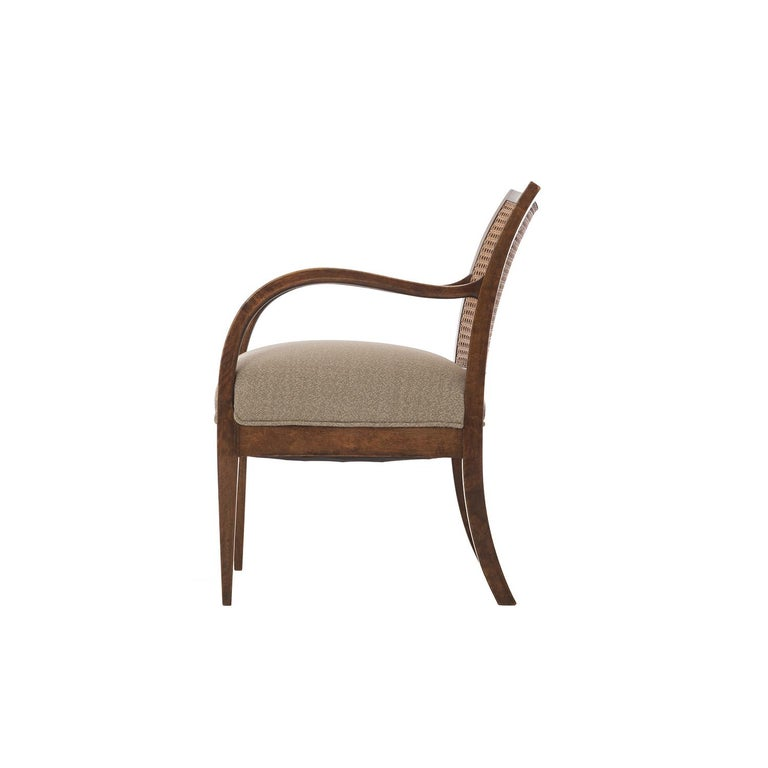 Danish Frits Henningsen Double Layer Caned Back Transitional Modern Armchair For Sale