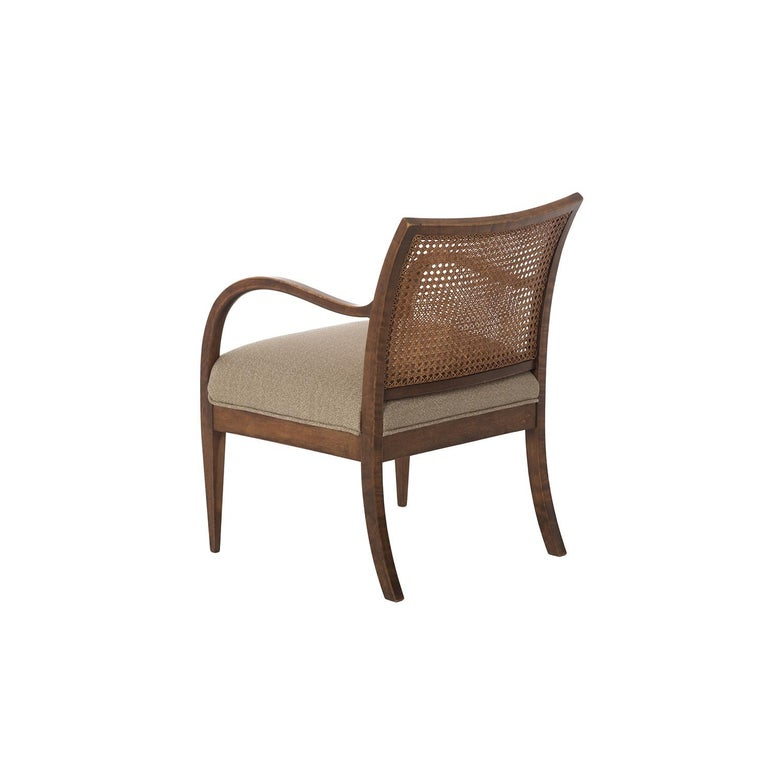 Stained Frits Henningsen Double Layer Caned Back Transitional Modern Armchair For Sale
