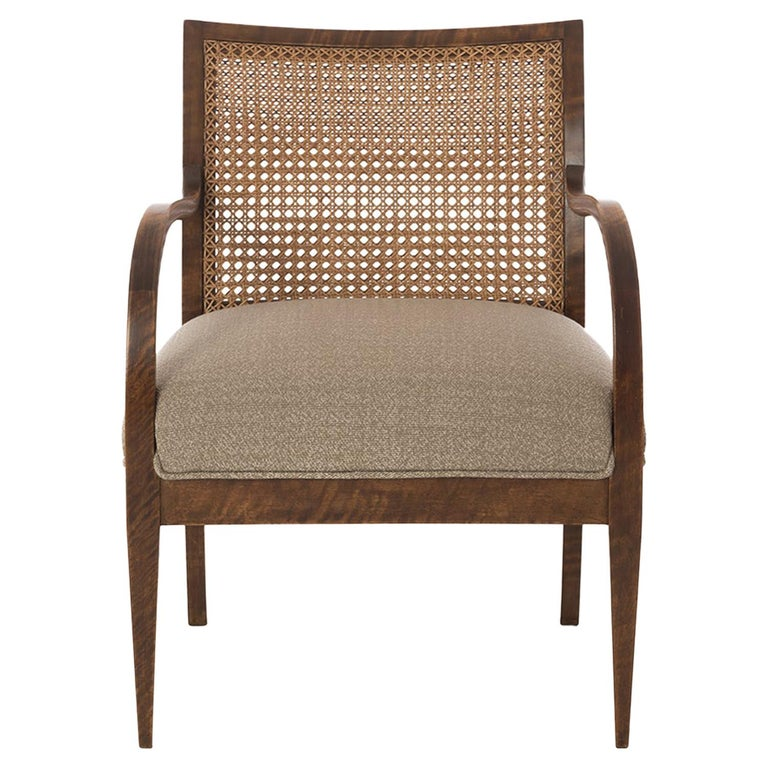 Frits Henningsen Double Layer Caned Back Transitional Modern Armchair For Sale