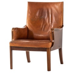 Frits Henningsen Easy Chair Produced by Cabinetmaker Frits Henningsen in Denmark