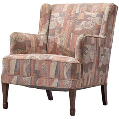 Frits Henningsen Lounge Chair in Patterned Upholstery