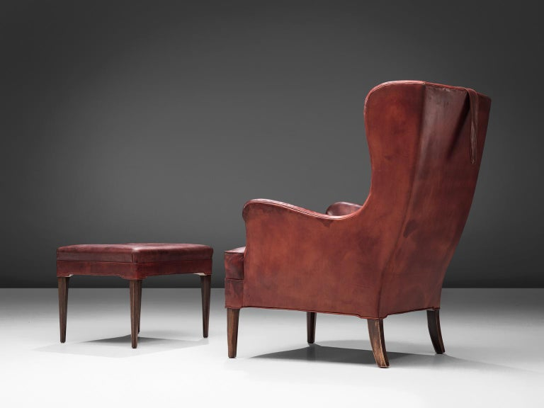 Frits Heningsen Lounge Chair with Ottoman in Original Burgundy Leather For Sale 4