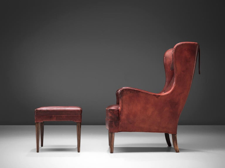 Frits Heningsen Lounge Chair with Ottoman in Original Burgundy Leather For Sale 2