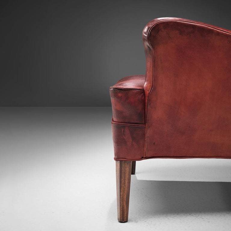 Frits Heningsen Lounge Chair with Ottoman in Original Burgundy Leather For Sale 3